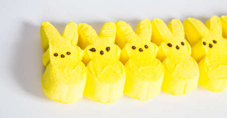 Yellow Easter candy on a white Background.