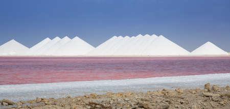 Die Meere Salzbergbaubetrieb auf der karibischen Insel Bonaire. Die chemische Reaktion im Wasser stellt sich leuchtend rosa. Standard-Bild
