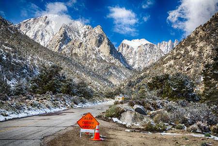 sierra snow: Spring snow in the Eastern Sierra Nevada Mountain Range. California, USA