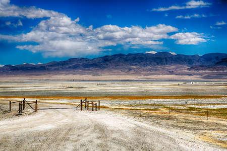 Salt flats on the edge of the Eastern Sierra Mountin Range, California, USA. photo