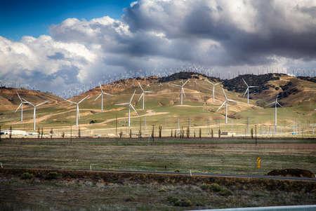 high dynamic range: Wind Turbines line the hillsides outside Bakersfield, California.