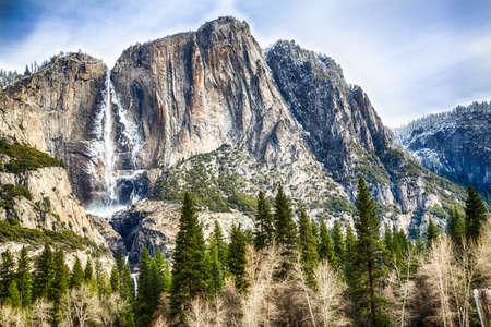 Yosemite Falls seen from the valley below. Yosemite National Park, California
