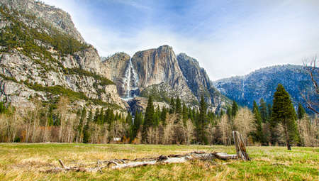 Yosemite Falls seen from the valley below. Yosemite National Park, California photo