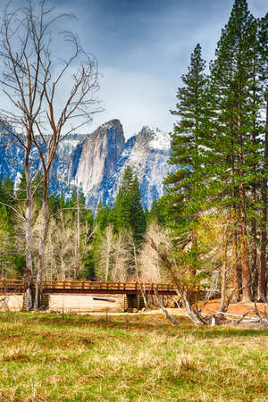 merced: A bridge across the Merced River in the Yosemite Valley. Yosemite National Park, California