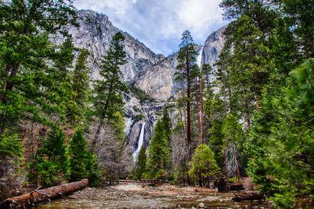 valley below: Yosemite Falls seen from the valley below. Yosemite National Park, California
