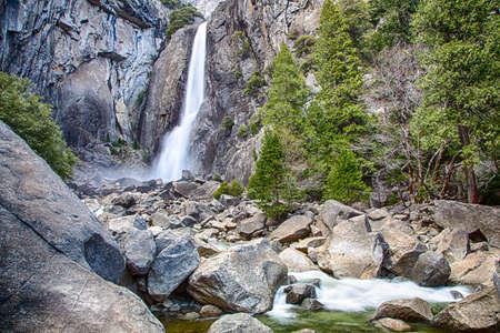 Lower Yosemite Falls and the pools below. Yosemite National Park.