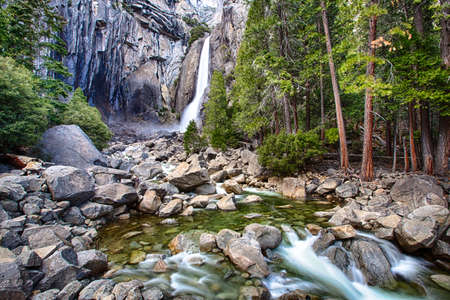 Lower Yosemite Falls and the pools below. Yosemite National Park. photo