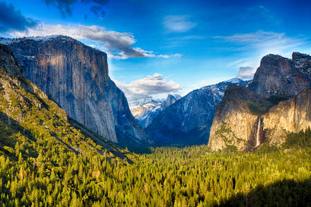The view of the Yosemite Valley from the tunnel entrance to the Valley. Yosemite National Park, California