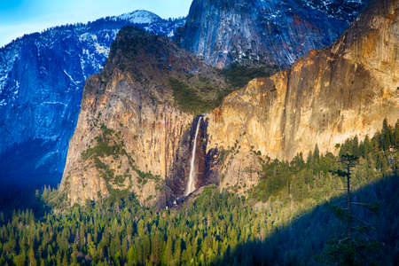Iconic Bridalveil Falls in the Yosemite Valley. Yosemite National Park, California, USA. photo