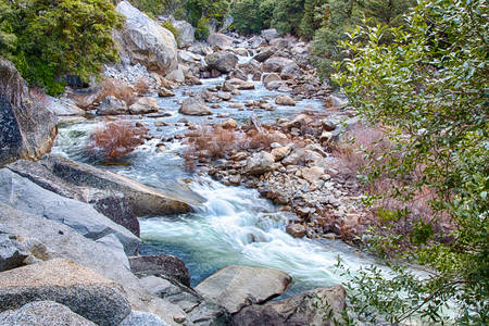 merced: Rapids along the Merced river Canyon. California