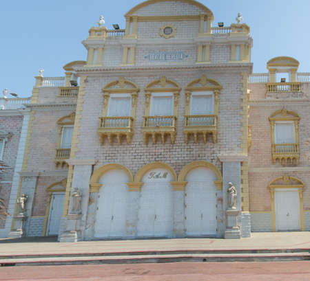 The stately Teatro Heredia in Cartagenas old cty Editorial