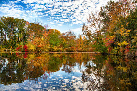 The changing leaves bring splashes of color to the historic Kirbys Mill pond in Medford, NJ.