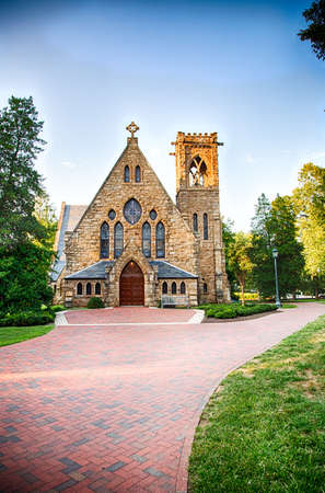 thomas stone: The UVA CHapel and bell tower on the campus of University of Virginia.