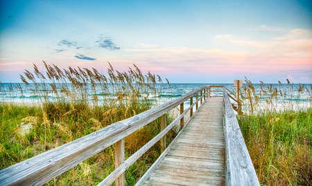 beach access: Public Beach access on Kure Beach on North Carolinas Atlantice coast.