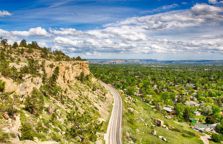 Zimmerman trail as it winds up the rim rocks on the West end of Billings, Montana. Stock Photo