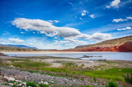 Bighorn 호수, 북부 와이오밍 및 남쪽 몬태나 Bighorn 캐년 저수지. 스톡 콘텐츠