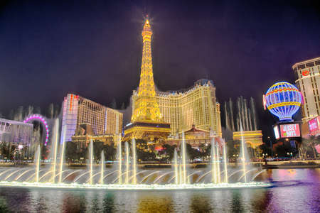 September 13, 2016, Las Vegas Nevada: The Paris Hotel and casino as seen from the Bellagio fountain after dark. Editorial