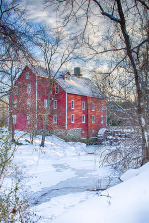 Kirbys Mill in Medford, New Jersey covered in snow and ice. Stock Photo