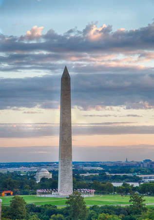 arial view: The Washingotn and Jefferson monuments as seen from a Washington, DC rooftop. Editorial