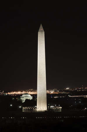 The Washingotn and Jefferson monuments as seen from a Washington, DC rooftop. Editorial