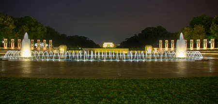 abraham: The lincoln memorial is visible behind the fountains of the World War Two memorial in Washinton, DC. Editorial
