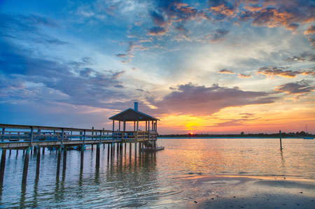 Sunset over Banks Channel on the Intercoastal waterway from Wrightsville Beach, NC.