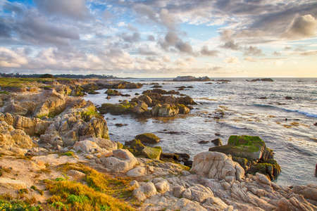 A landscape of the Pacfic Ocean along the famous 17 Mile Drive near Pebble Beach, California. Stock Photo