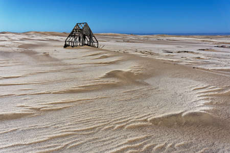 Abandoned wooden building in an long deserted diamond mine in Namibia