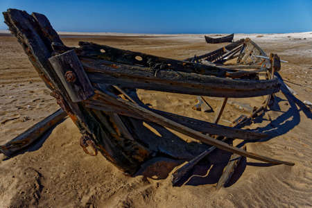 Remains of a surf boat at Meob Bay Whaling Station, Skeleton Coast, Namibia