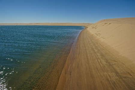 Atlantic Ocean meets the desert of the Skeleton Coast, Namibia, Africa.