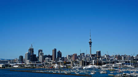 Auckland and harbour viewed from the Auckland Harbour Bridge, New Zealand.
