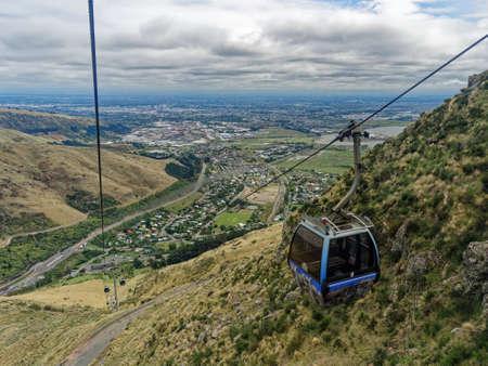 Christchurch Port Hills Gondola, or cable car, station, New Zealand.