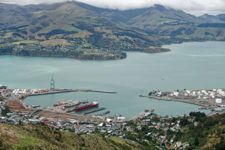Lyttelton harbour from the Port Hills, New Zealand. Pine trees ready for export.