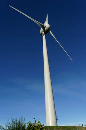 Brooklyn Wind Turbine against a clear blue sky, Wellington, New Zealand.