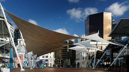 WELLINGTON, WELLINGTONNEW ZEALAND – MAY 25, 2019: [Shade sails covering a pedestrian area in Wellington CBD, New Zealand.]