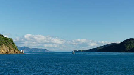 Entering French Pass from the east heading towards Tasman Bay, Marlborough Sounds, New Zealand. Imagens