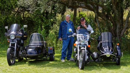 Tapawera, TasmanNew Zealand – January 14, 2012: Two older guys with their motorcycle and sidecars, Tapawera A & P (agricultural and pastoral) show.