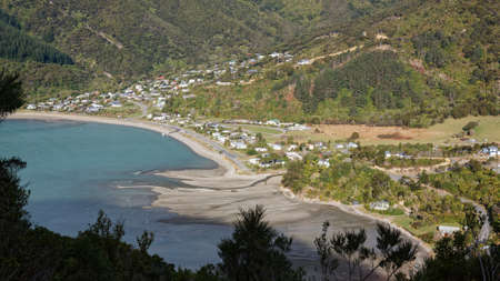 Aerial view of Okiwi Bay at low tide, Marlborough Sounds, New Zealand.