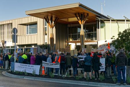 Richmond, TasmanNew Zealand – August 9, 2018: Ratepayers demonstrating against the Tasman District Councils Waimea Dam construction project, New Zealand.