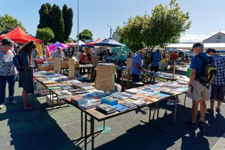 Takaka, Golden Baynew Zealand - January 29, 2017: Second hand books stall at the Takaka village market, Tasman, New Zealand.