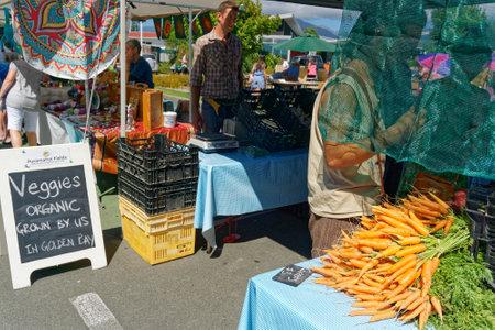 Takaka, Golden Baynew Zealand - January 29, 2017: Organic vegetables stall at the Takaka village market, Tasman, New Zealand.