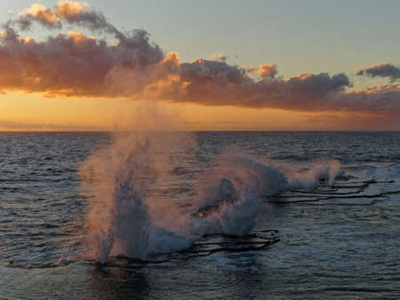 The Mapu a Vaea or Whistle of the Noble are natural blowholes on the island of Tongatapu in the village of Houma in the Kingdom of Tonga. Foto de archivo - 135388779