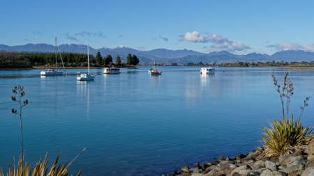The view across the inlet towards Rabbit Island from Mapua, Tasman region, New Zealand.
