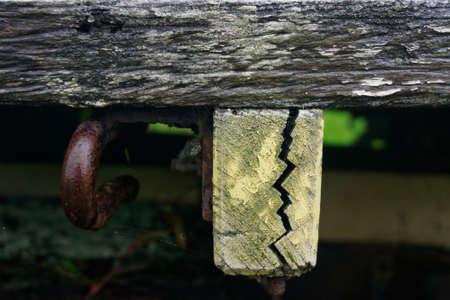 Crack! A zig zag shaped split like a lightening bolt in a piece of wood.