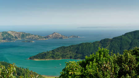 Oyster Bay viewed from the Port Underwood road, Marlborough Sounds, New Zealand. Stock Photo