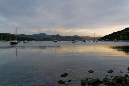 Sunrise at Waikawa Bay, Marlborough Sounds, New Zealand.