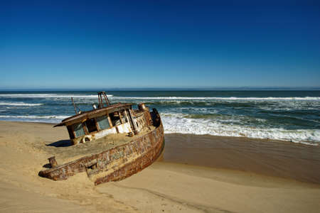 Shawnee shipwreck that was wrecked on the Skeleton Coast of Namibia, Atlantic coast of south west Africa. Stock Photo