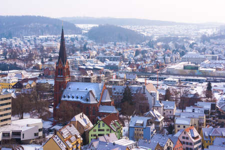 Heidenheim an der Brenz BadenWrttemberg Germany in winter from birds eye view. Stockfoto