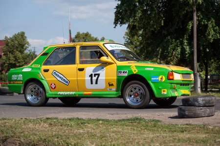 TOTKOMLOS, HUNGARY - JUNE 12, 2011: Zoltan Meszaros (driver) and Istvan Meszaros (co-driver) in their Skoda 130 LR at the II. Totkomlos Rally on June 12, 2011 in Totkomlos, Hungary.