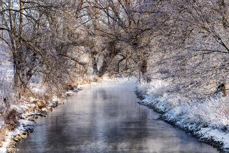 The Brenz river near Herbrechtingen, Germany in winter. Stock Photo